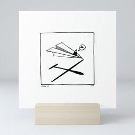 Ninja flies a Paper Plane Mini Art Print