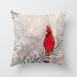 The Red Cardinal in winter Throw Pillow