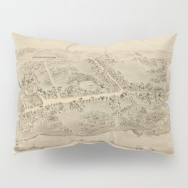 Vintage Pictorial Map of Madison CT (1881) Pillow Sham