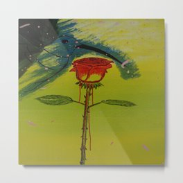 Blurry hummingbird and a melting roze Metal Print