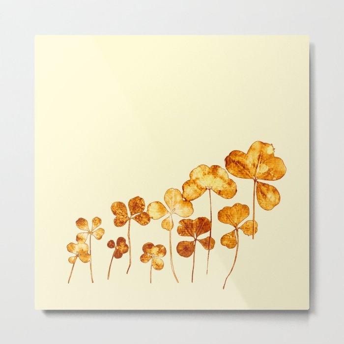 golden clover on cream- pink Metal Print