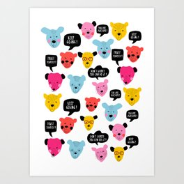 Motivational bears illustration Keep Going! You're Awesome ! Art Print