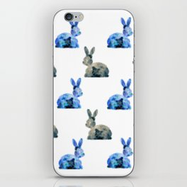 Floral Bunny - white iPhone Skin