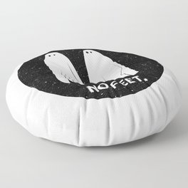 No Feet Ghosts Black and White Graphic Floor Pillow