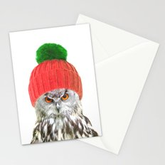 Owl with cap winter holidays Stationery Cards