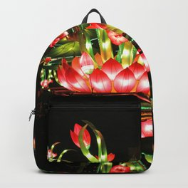 Chinese flower lantern pond at night Backpack
