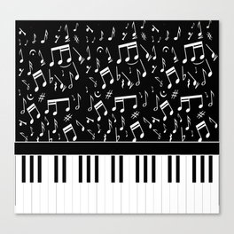 Stylish black and white piano keys and musical notes Canvas Print