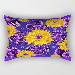 Glittering Amethyst Gems Jeweled Sunflower Rain Rectangular Pillow