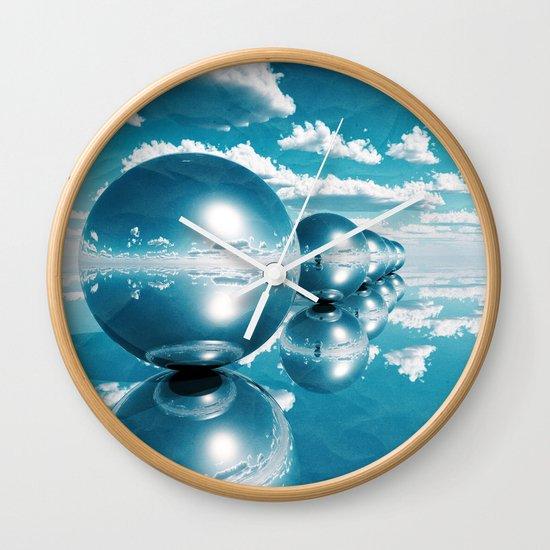 blue spheres in line paper Wall Clock