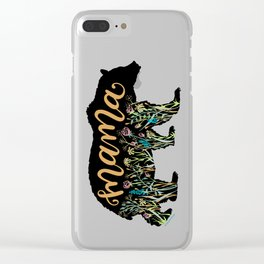 Mama Bear with Pretty Wildflowers Hand Lettering Illustration Clear iPhone Case