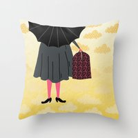 mary poppins Throw Pillows featuring Mary Poppins by Prelude Posters