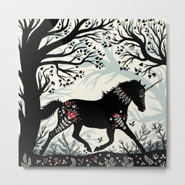 Folk Unicorn Metal Print