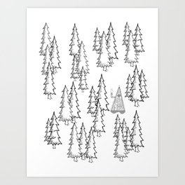 Lost in the wood, a lonely cabin Art Print
