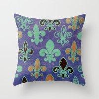 fleur de lis Throw Pillows featuring Fleur de lis #6 by Camille