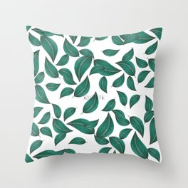 Leaves collage pattern Throw Pillow
