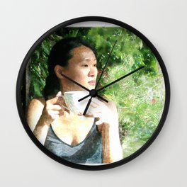 Watercolor of a Serene Beauty with a Cup of Tea in the Rainforest Wall Clock