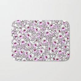 Cute Adorable Pink White Black Teddy Bear Collage Bath Mat