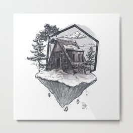 Lonely Snow House Metal Print