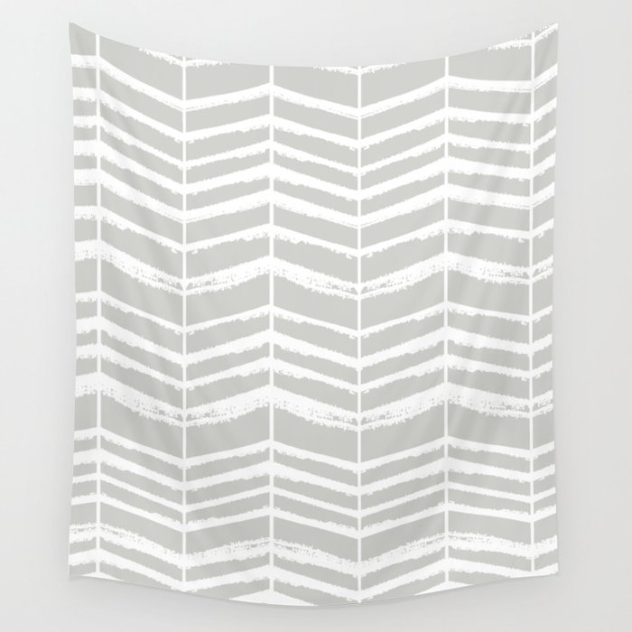 Herringbone (Light Grey & White) Wall Tapestry