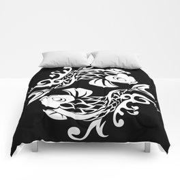 BK WHT W KOI FISH LOGO Comforters