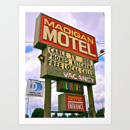 American Motel Sign Art Print