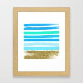 Blue Stripes and Glitter Framed Art Print