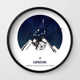 Astrology Capricorn Zodiac Horoscope Constellation Star Sign Watercolor Poster Wall Art Wall Clock