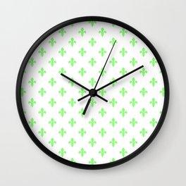 Fleur-de-Lis (Light Green & White Pattern) Wall Clock
