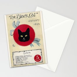 Vintage Poster, Black Cat, Magazine Cover, Cat Wall Art Stationery Cards