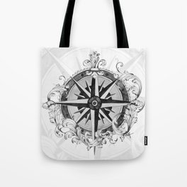 Black and White Scrolling Compass Rose Tote Bag