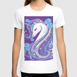 Magical Unicorn in Purple Sky T-shirt