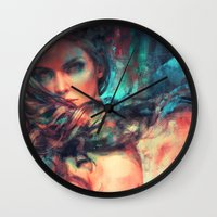 alicexz Wall Clocks featuring Islands by Alice X. Zhang