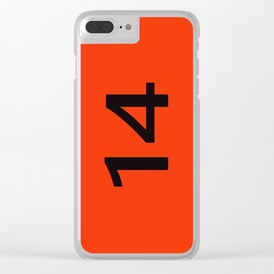 Legendary No. 14 in orange and black Clear iPhone Case