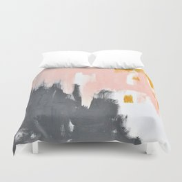 Gray and pink abstract Duvet Cover