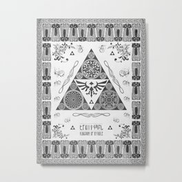 Legend of Zelda Kingdom of Hyrule Crest Letterpress Vector Art Metal Print