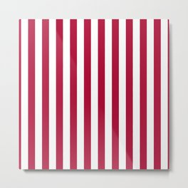Crimson and White Even Vertical Stripes Metal Print