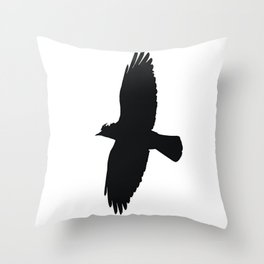 Jackdaw In Flight Silhouette Throw Pillow