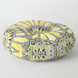 Sunny Yellow Radiant Watercolor Pattern Floor Pillow