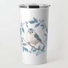 White bird. Watercolor Travel Mug