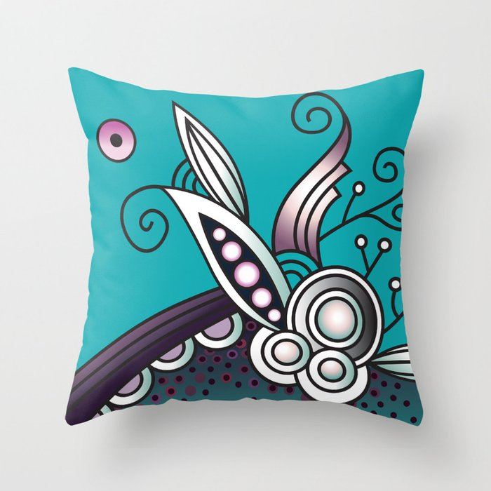 Ornate square zentangle, Celadon turquoise Throw Pillow