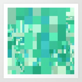 blue and green mosaic art Art Print