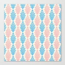 Pastel pink blue vintage chic floral damask pattern Canvas Print