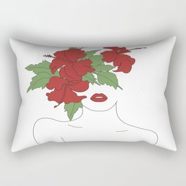Minimal Line Art Woman with Hibiscus Rectangular Pillow