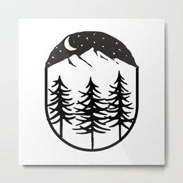 Snowy Mountain Tops And Black Tree Metal Print