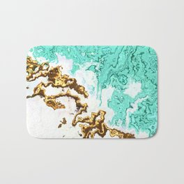 turquoise gold white abstract digital painting Bath Mat