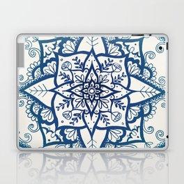 Blue Floral Pattern on Cream Laptop & iPad Skin
