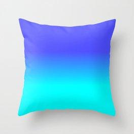 Neon Blue and Bright Neon Aqua Ombré Shade Color Fade Throw Pillow