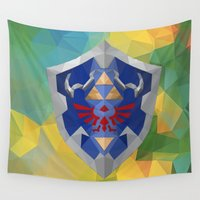 hyrule Wall Tapestries featuring Low Poly Hyrule Shield by Makar Deku