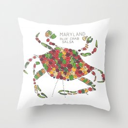 Blue Crab Maryland Art State Symbols Throw Pillow