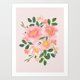 Pink Peonies Flower Bouquet Painting Art Print